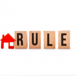 """Word """"rule"""" with red house icon."""